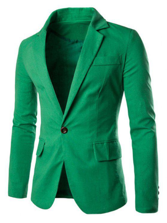 One Button Einreiher Farbe Spliced Revers langen Ärmeln Baumwolle + Leinen Blazer für Männer - Grün 2XL