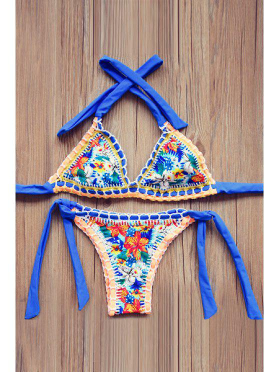 shop Floral Print Lace Up Bikini Set - BLUE L