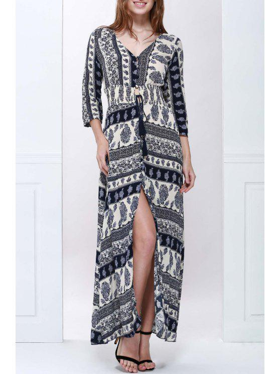 women's Plunging Neck Blue and White Maxi Dress - PURPLISH BLUE S