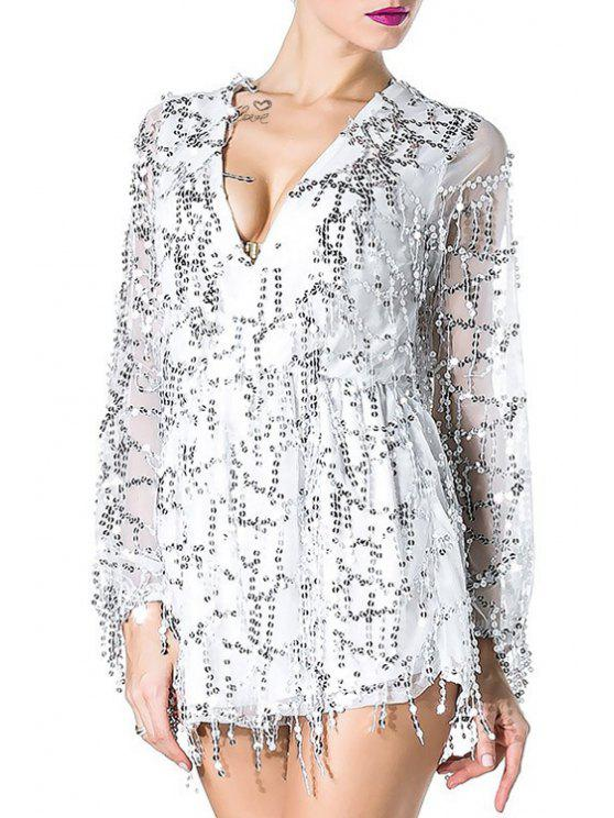 affordable Fringes Plunging Neck Long Sleeve Sequins Dress - WHITE XL