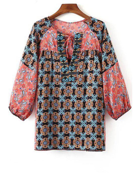 El modelo geométrico de cuello redondo de manga larga blusa - Rosa S