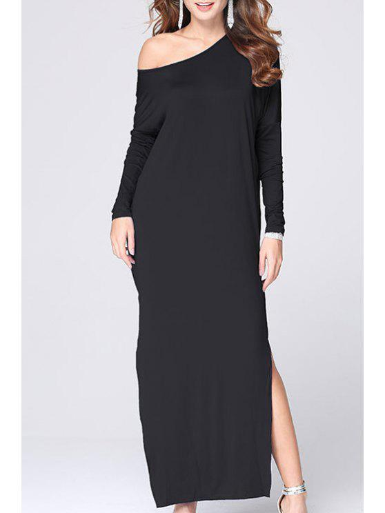 lady Skew Neck High Slit Maxi Dress - BLACK L