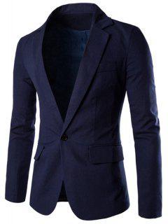 Un Botón De Un Solo Pecho De Solapa Mangas Largas Color Sólido De La Chaqueta Para Los Hombres - Azul Marino  M