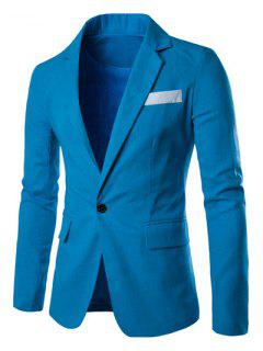 One Button Single-Breasted Color Splicing Lapel Long Sleeves Linen Blended Blazer For Men - Blue 2xl