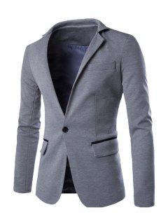 Hit Color Spliced Back Slit Stand Collar Long Sleeves Single-Breasted Blazer For Men - Light Gray Xl