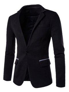 Hit Color Spliced Back Slit Stand Collar Long Sleeves Single-Breasted Blazer For Men - Black M