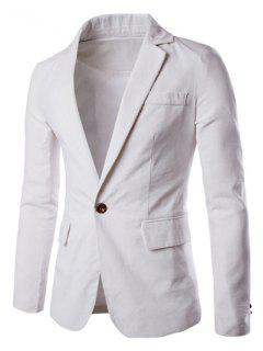 One Button Single-Breasted Color Spliced Lapel Long Sleeves Cotton+Linen Blazer For Men - White M