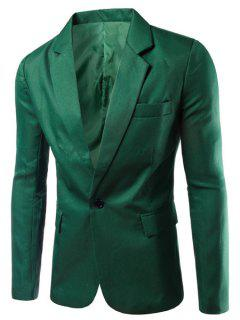 Turn-Down Collar Solid Color Single Breast Long Sleeve Men's Blazer - Grass Green M