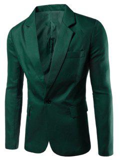 Turn-Down Collar Solid Color Single Breast Long Sleeve Men's Blazer - Blackish Green 3xl
