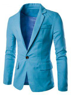 One Button Single-Breasted Color Spliced Lapel Long Sleeves Cotton+Linen Blazer For Men - Light Blue M