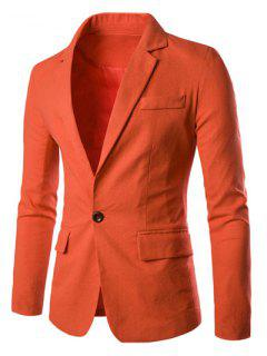One Button Single-Breasted Color Spliced Lapel Long Sleeves Cotton+Linen Blazer For Men - Jacinth M