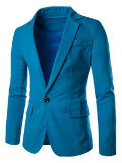 One Button Single-Breasted Color Spliced Lapel Long Sleeves Cotton+Linen Blazer For Men - Blue L
