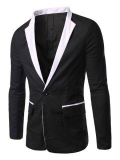 Casual Turn Down Collar Long Sleeves Single Button Blazer For Men - Black L