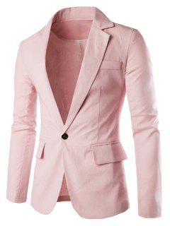 One Button Single-Breasted Lapel Long Sleeves Solid Color Blazer For Men - Pink 2xl