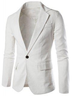 One Button Single-Breasted Lapel Long Sleeves Solid Color Blazer For Men - White L