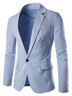 Solid Color Basic Men Blazer - Light Blue Xl