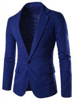 One Button Single-Breasted Lapel Long Sleeves Solid Color Blazer For Men - Sapphire Blue L