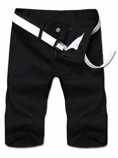 Slimming Straight Leg Solid Color Zipper Fly Men's Shorts - Black 30