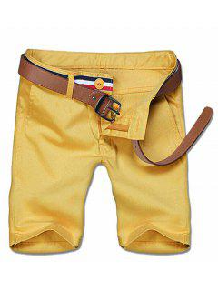 Casual Zipper Solid Color Shorts For Men - Yellow 34