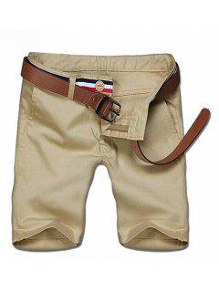 Casual Zipper Solid Color Shorts For Men - Khaki 28