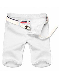 Casual Zipper Solid Color Shorts For Men - White 30