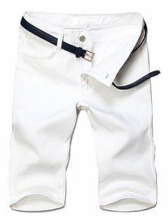 Slimming Straight Leg Solid Color Zipper Fly Men's Shorts - White 28
