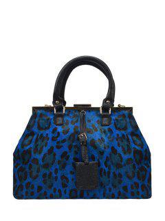 Leopard Print Metal Splicing Tote Bag - Blue