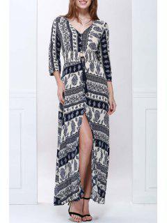 Plunging Neck Blue And White Maxi Dress - Purplish Blue Xl