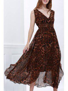 Flounce Edge Chiffon Retro Style Maxi Dress - Leopard L