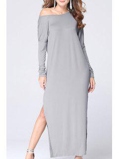 Skew Neck High Slit Maxi Dress - Gray 2xl