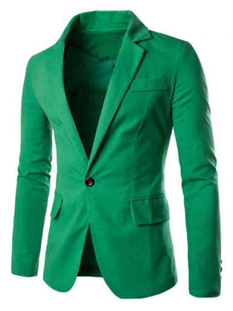 One Button Einreiher Farbe Spliced Revers langen Ärmeln Baumwolle + Leinen Blazer für Männer - GREEN 2XL Mobile