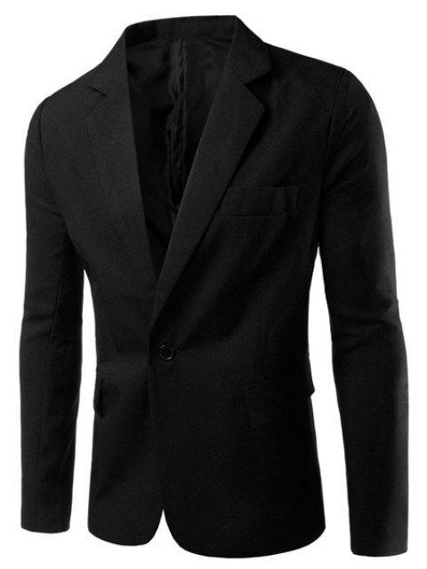Turn-Down-Kragen Solid Color Einzelbrust Langarm-Blazer der Männer - Schwarz XL  Mobile