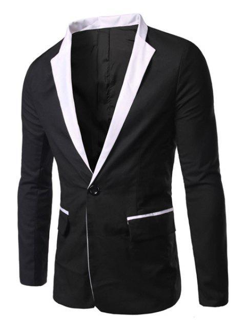 Lässige Turn Down Kragen mit langen Ärmeln Single Button Blazer für Männer - Schwarz L Mobile