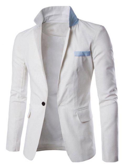 Ein Taste Einreiher Farbe Splicing-Revers langen Ärmeln Leinen Blended Blazer für Männer - Weiß 2XL Mobile