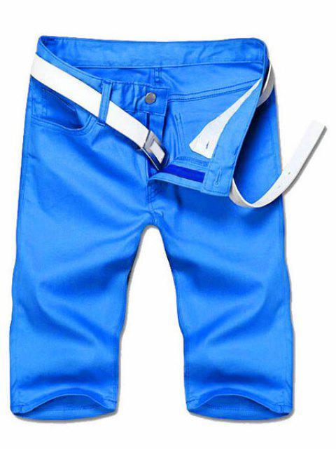 Adelgazar pierna recta Solid pantalones cortos de color Cierre con cremallera hombres - Azul 34 Mobile