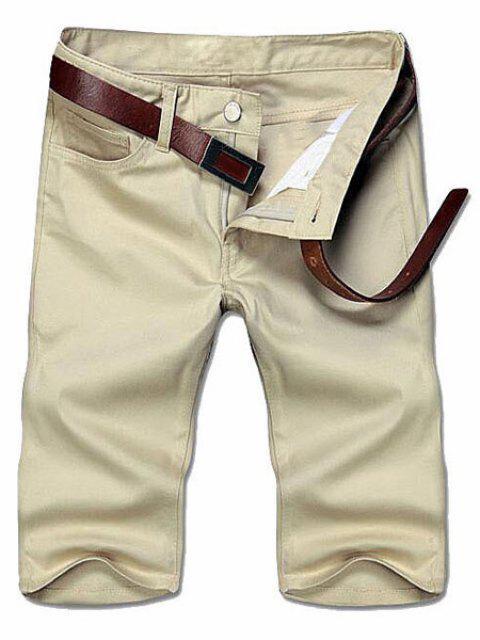 Abnehmen Straight Leg Solid Color Reißverschluss Shorts - Khaki 32 Mobile
