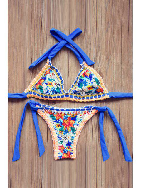 shop Floral Print Lace Up Bikini Set - BLUE L Mobile