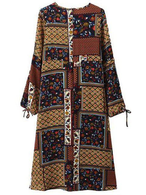 outfits Block Print Round Neck 3/4 Sleeve Dress - YELLOW S Mobile