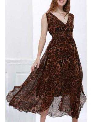 Flounce Edge Chiffon Retro Style Maxi Dress - Leopard L