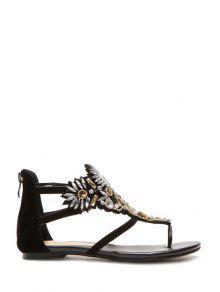 Buy Rhinestone Thong Black Sandals - BLACK 36