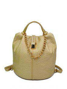 Buy Solid Color Chains PU Leather Satchel - GOLDEN