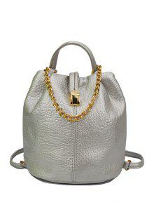 Buy Solid Color Chains PU Leather Satchel - SILVER