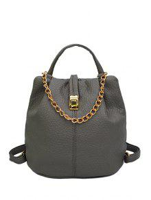 Buy Solid Color Chains PU Leather Satchel - GRAY
