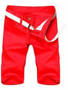 Minceur Jambe Droite Shorts Couleur Zipper Fly Hommes Solides - Rouge 30