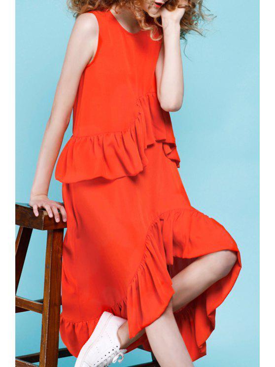 outfits Frilled Asymmetrical Midi Dress - JACINTH XL