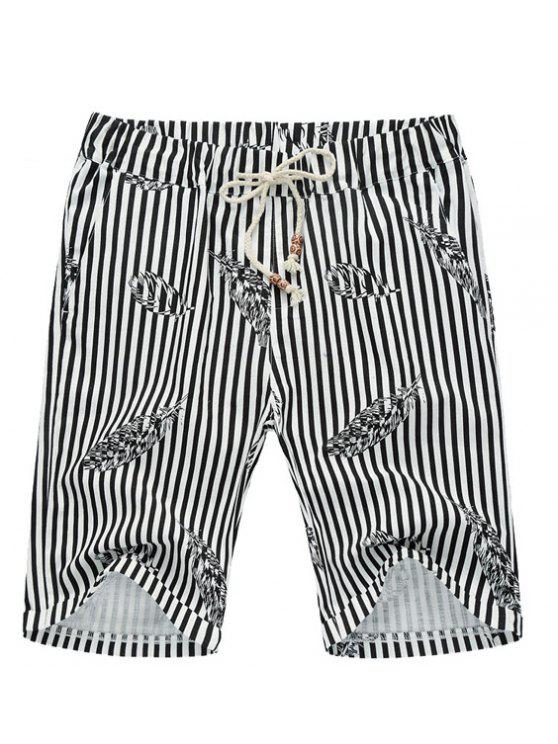hot Stripe Lace Up Feather Printed Fifth Pants Beach Loose Shorts For Men - BLACK XL