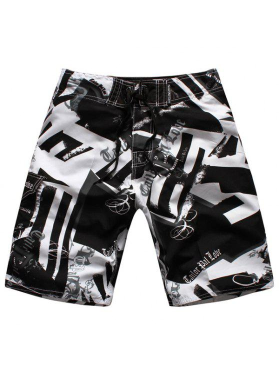 online Straight Leg Drawstring Hit Color Geometric Print Men's Board Shorts - WHITE AND BLACK M