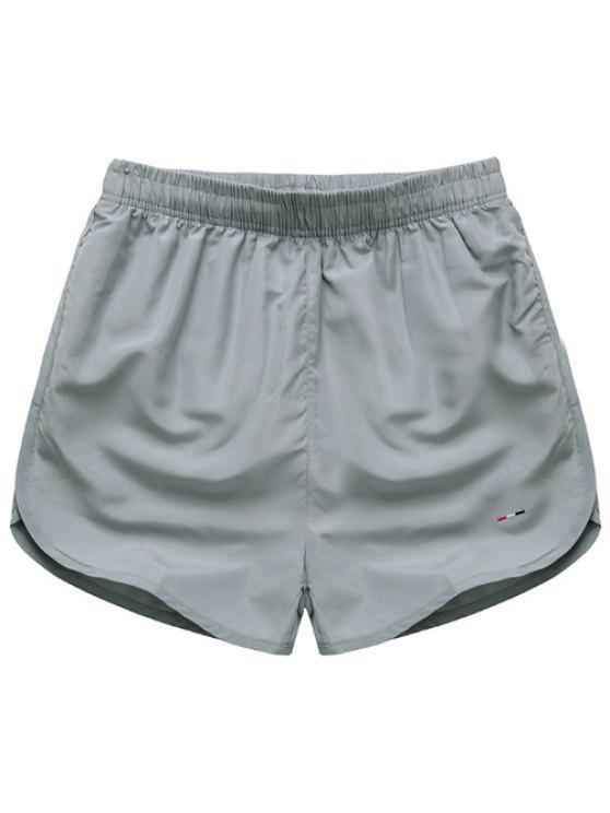 online Simple Elastic Waist Solid Color Men's Shorts - GRAY M