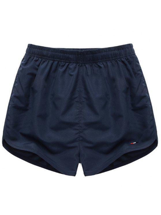 outfit Simple Elastic Waist Solid Color Men's Shorts - DEEP BLUE S