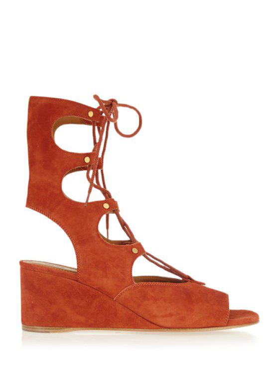 buy Solid Color Peep Toe Lace-Up Sandals - CAMEL 39
